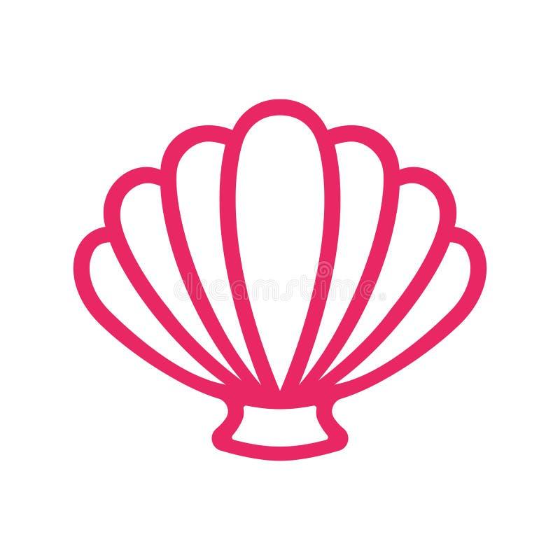 Overzeese van de overzichtskammossel shell clam conch Zeeschelp - vlakke vector vector illustratie