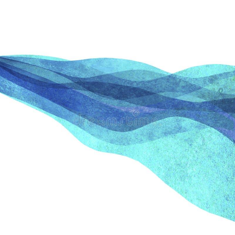 Overzeese van de waterverf transparante golf oceaanwintertalingsturkoois gekleurde achtergrond Illustratie van Watercolour de han royalty-vrije illustratie