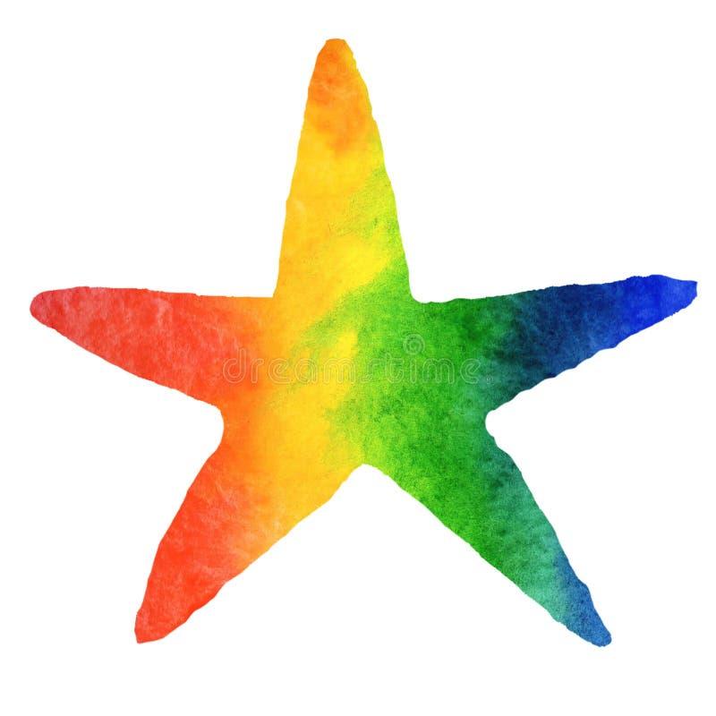 Overzeese van de waterverfzomer illustratie Met de hand geschilderde regenboog overzees-ster royalty-vrije illustratie