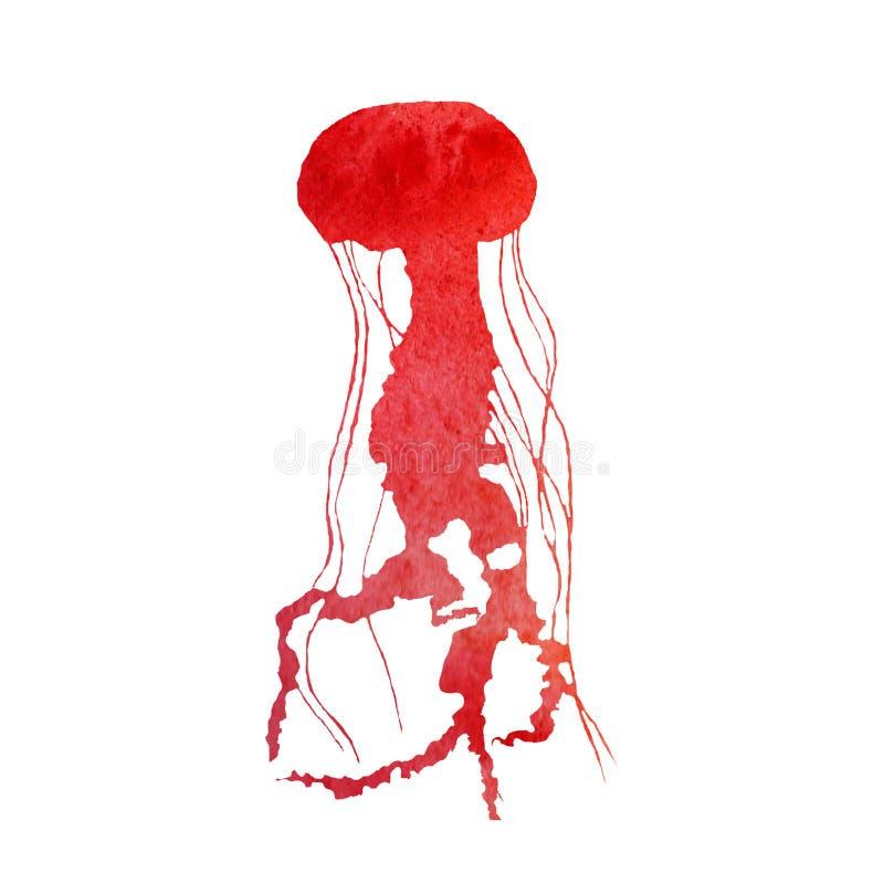 Overzeese van de waterverfzomer illustratie Met de hand geschilderde regenboogkwallen stock illustratie