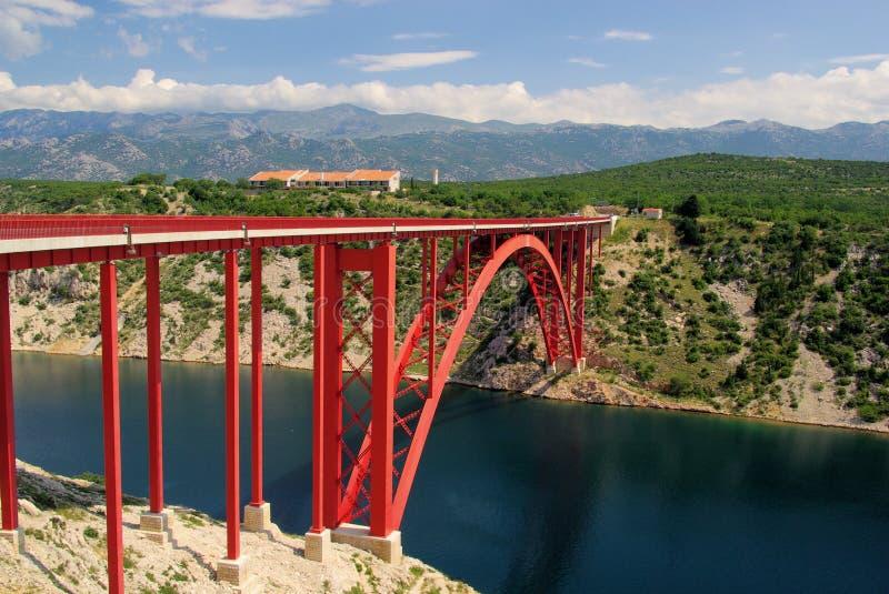 Overzeese van Novigrad brug stock foto