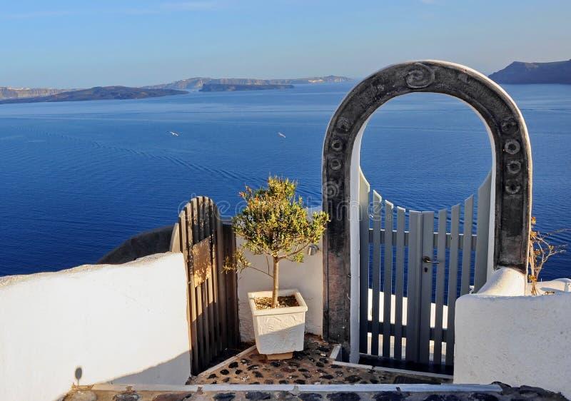 Overzeese van Santorini mening royalty-vrije stock afbeeldingen
