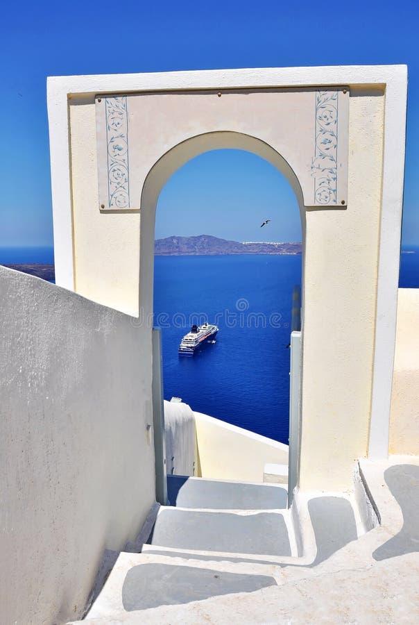 Overzeese van Santorini mening stock afbeeldingen