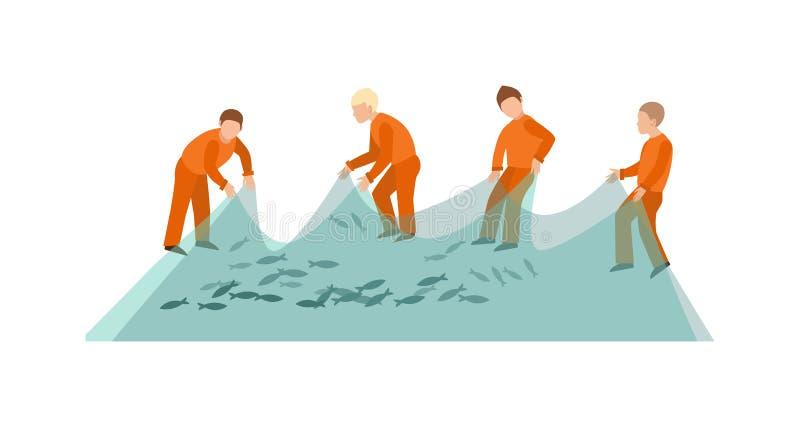 Overzeese van visnetvissen vangstinstrument en vissers die hulpmiddelvector werken royalty-vrije illustratie