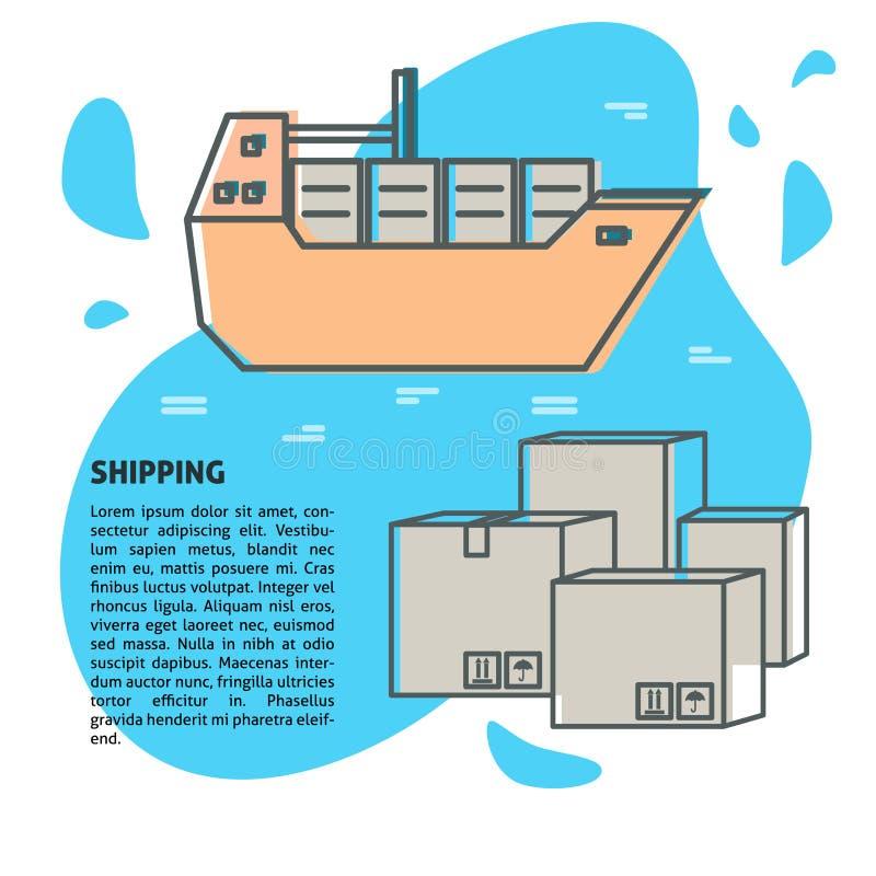 Overzeese vrachtbanner of affichemalplaatje met plaats voor tekst vector illustratie