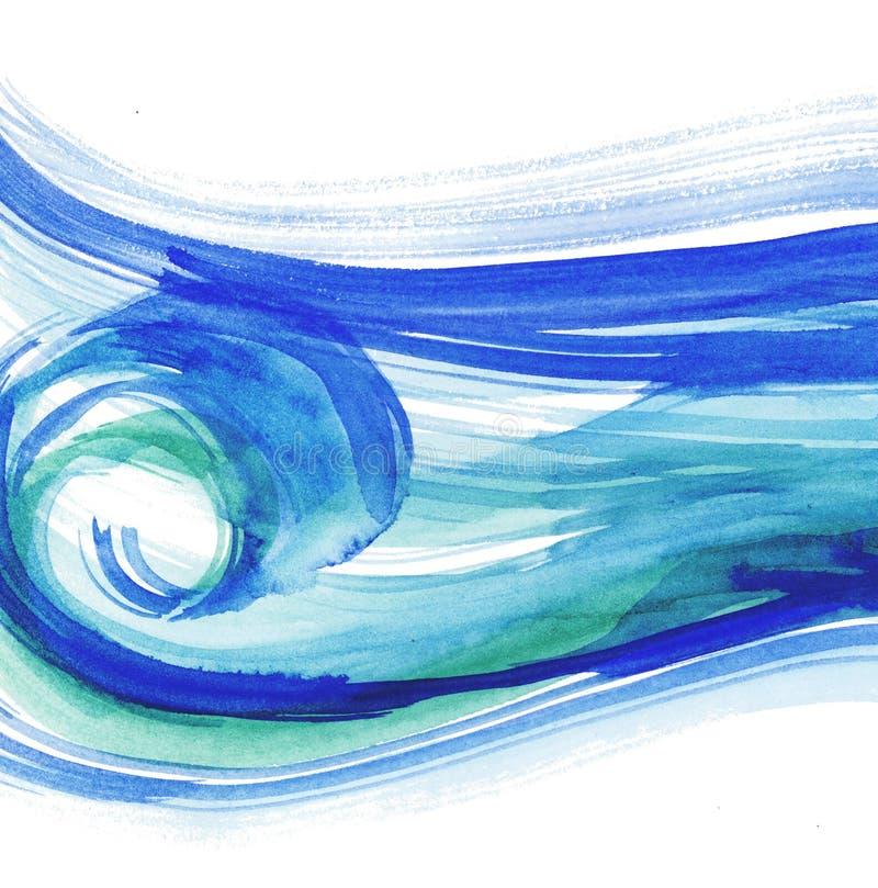 overzeese waterverfillustratie blauwe wate royalty-vrije illustratie