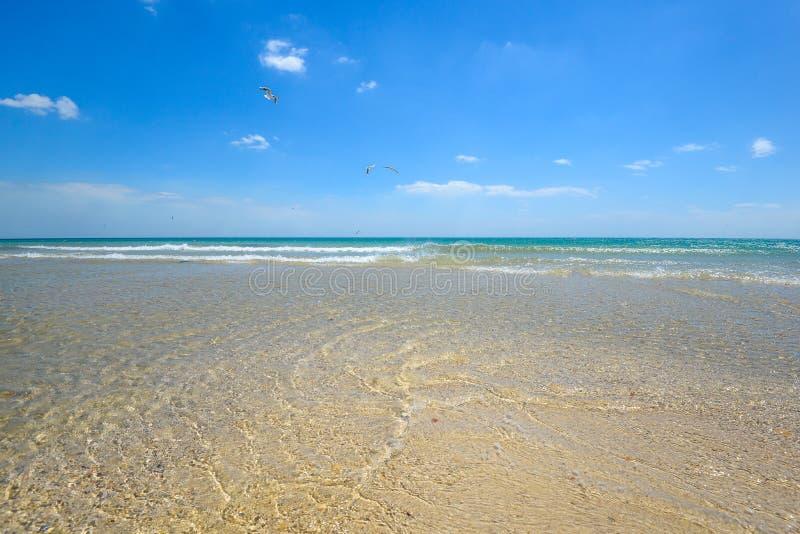 Overzeese zandhemel en de zomerdag Mooi Tropisch Strand Mooi strand en tropische overzees royalty-vrije stock foto's