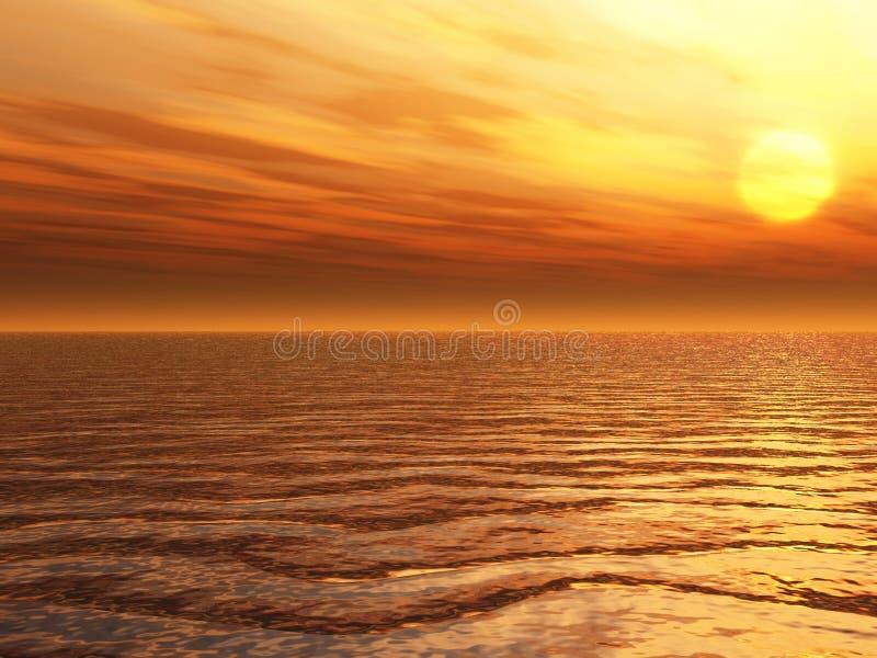 Overzeese zonsondergang vector illustratie