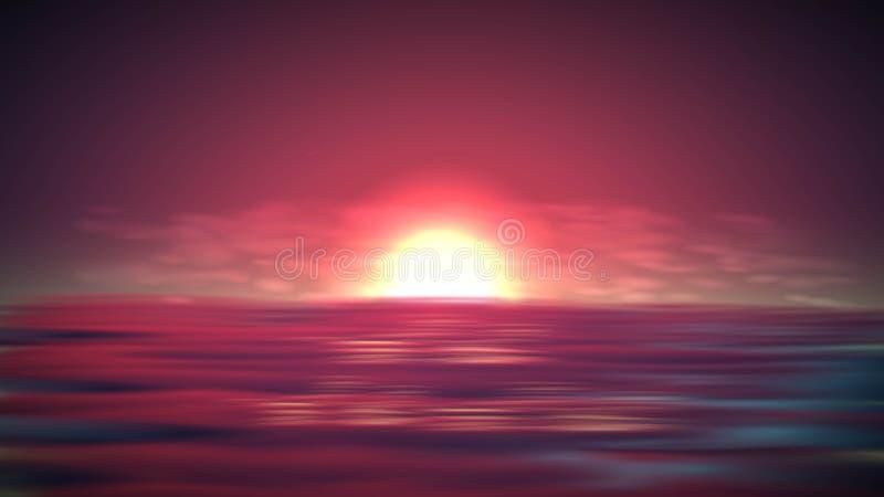 Overzeese zonsondergang vectorachtergrond Romantisch landschap met rode hemel op oceaan Abstracte de zomerzonsopgang stock illustratie