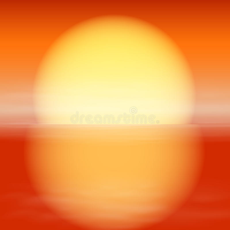Overzeese zonsondergang. Zon met bezinning over water. stock illustratie