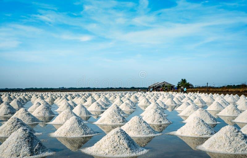 Overzeese zoute landbouwbedrijf en schuur in Thailand Organisch Overzees Zout : Natrium-chloride Zonneverdampingssysteem royalty-vrije stock fotografie