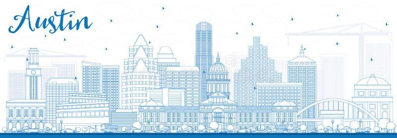 Overzicht Austin Skyline met Blauwe Gebouwen royalty-vrije illustratie