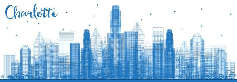 Overzicht Charlotte North Carolina Skyline met Blauwe Gebouwen royalty-vrije illustratie