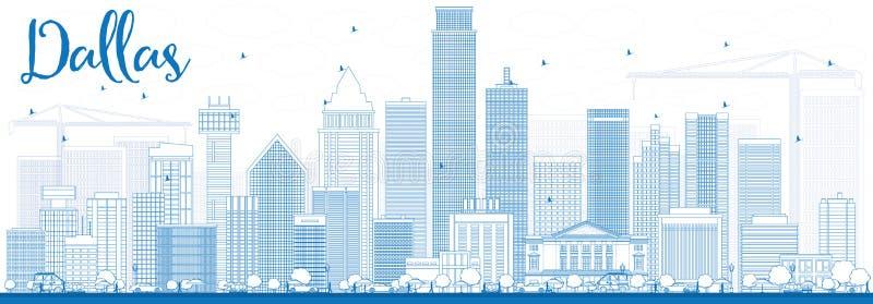 Overzicht Dallas Skyline met Blauwe Gebouwen royalty-vrije illustratie