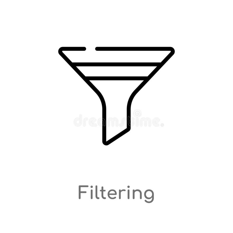 overzicht die vectorpictogram filtreren de geïsoleerde zwarte eenvoudige illustratie van het lijnelement van hulpmiddelen en werk vector illustratie