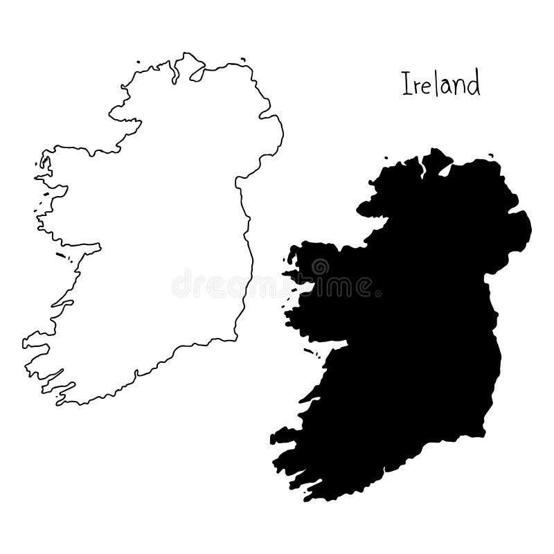 Overzicht en silhouetkaart van Ierland - vectorillustratiehand stock illustratie