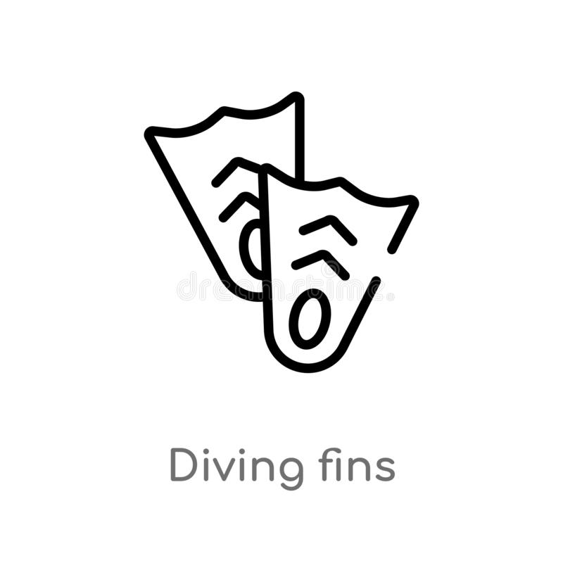 overzicht het duiken vinnen vectorpictogram de ge?soleerde zwarte eenvoudige illustratie van het lijnelement van de zomerconcept  royalty-vrije illustratie