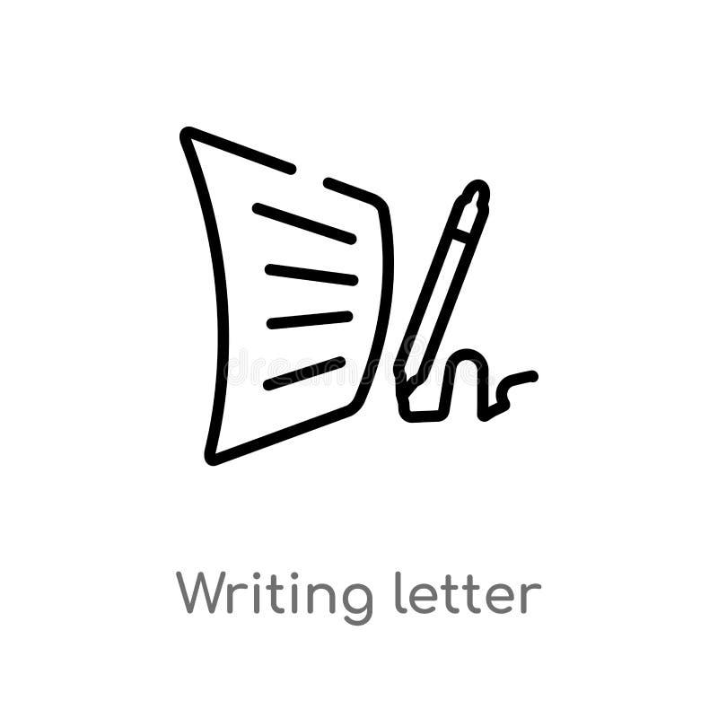 overzicht het schrijven brief vectorpictogram de geïsoleerde zwarte eenvoudige illustratie van het lijnelement van communicatie c stock illustratie