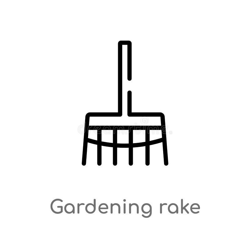 overzicht het tuinieren hark vectorpictogram de ge?soleerde zwarte eenvoudige illustratie van het lijnelement van hulpmiddelencon vector illustratie