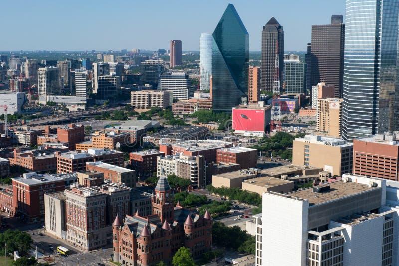 Overzicht het van de binnenstad van Dallas stock afbeeldingen