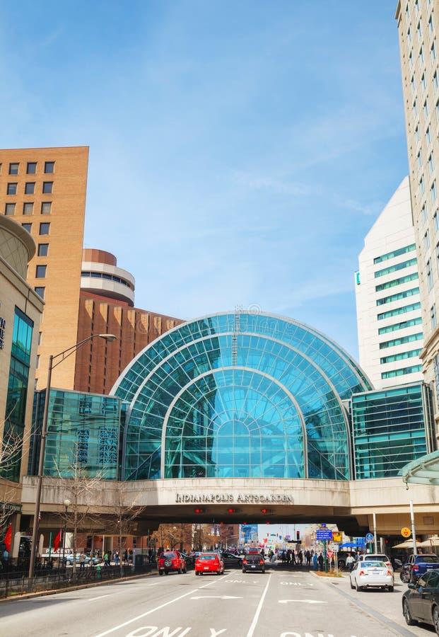 Overzicht het van de binnenstad van Indianapolis stock fotografie