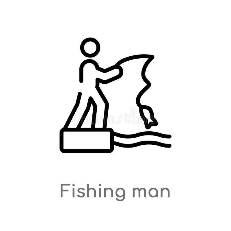 overzicht het vectorpictogram van de visserijmens de ge?soleerde zwarte eenvoudige illustratie van het lijnelement van sportencon stock illustratie