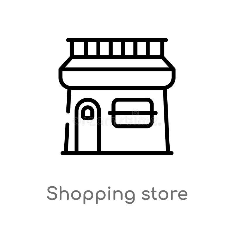 overzicht het winkelen opslag vectorpictogram de ge?soleerde zwarte eenvoudige illustratie van het lijnelement van handelsconcept royalty-vrije illustratie