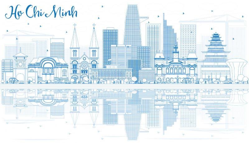 Overzicht Ho Chi Minh Skyline met Blauwe Gebouwen en Bezinningen stock illustratie