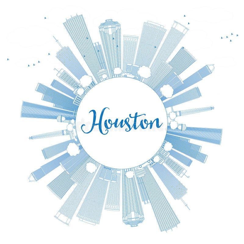 Overzicht Houston Skyline met Blauwe Gebouwen stock illustratie