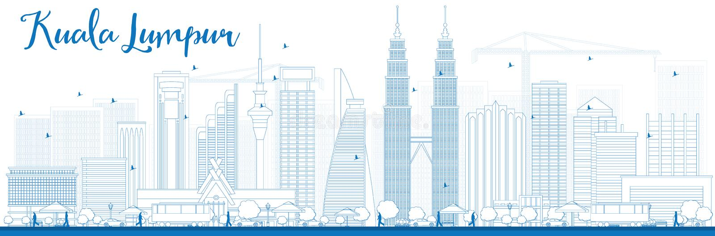 Overzicht Kuala Lumpur Skyline met Blauwe Gebouwen vector illustratie