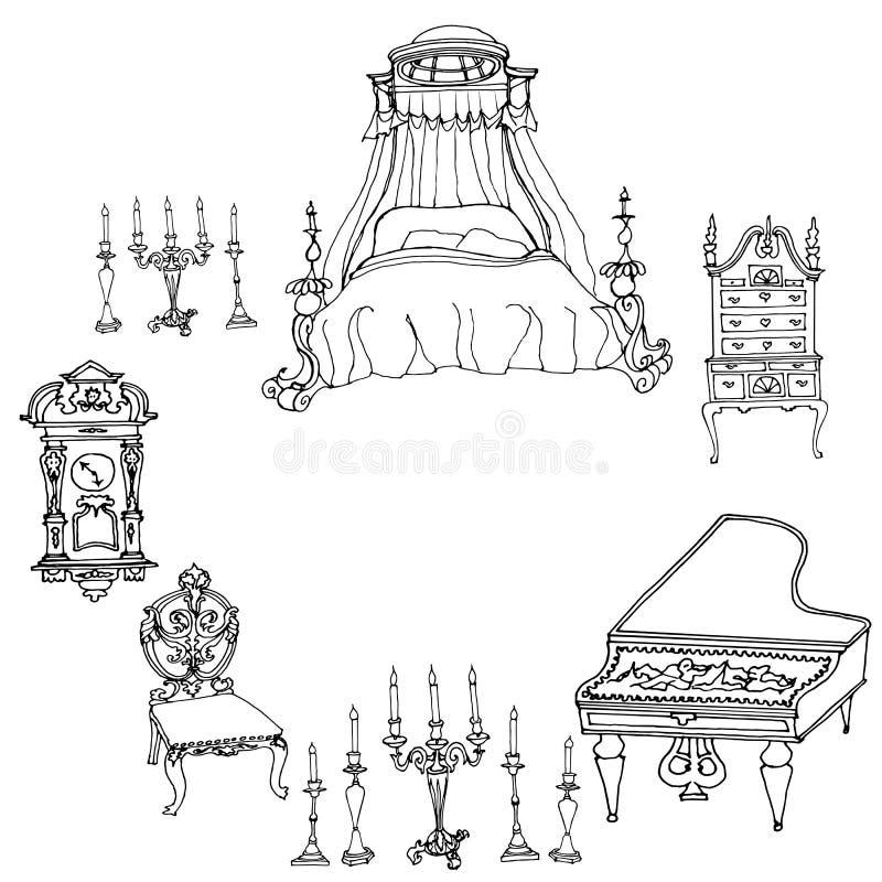 Overzicht in lijnen op een wit antiek meubilair als achtergrond - bed, vector illustratie