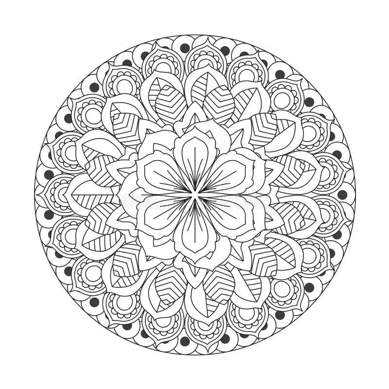 Overzicht Mandala voor het kleuren van boek Decoratief rond ornament stock illustratie