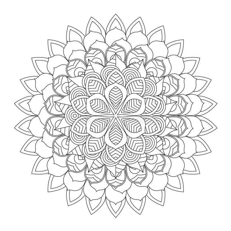 Overzicht Mandala voor het kleuren van boek Decoratief rond ornament royalty-vrije illustratie