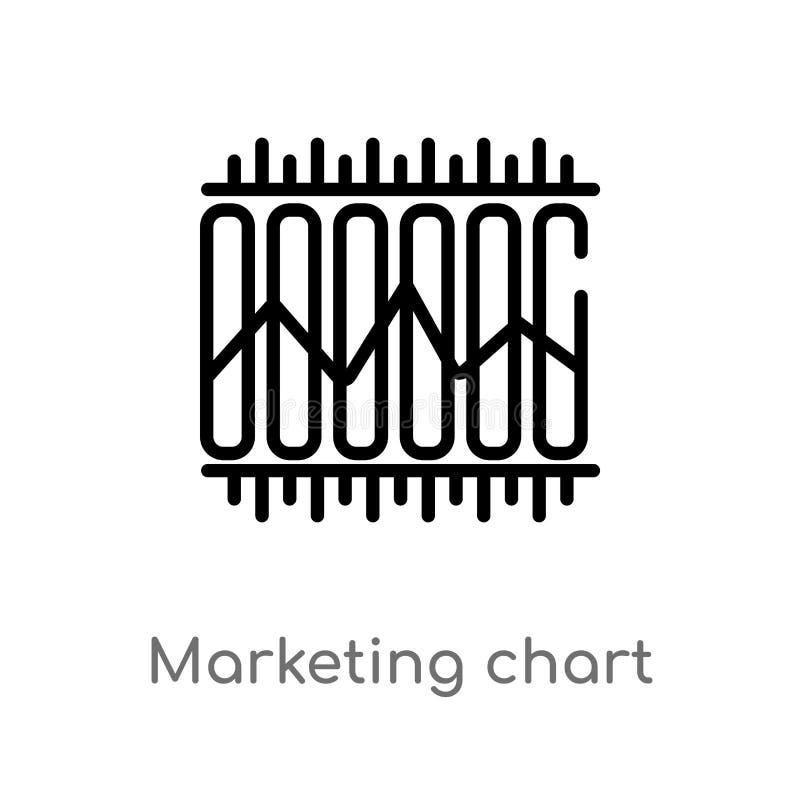 overzicht marketing grafiek vectorpictogram de ge?soleerde zwarte eenvoudige illustratie van het lijnelement van bedrijfsconcept  stock illustratie