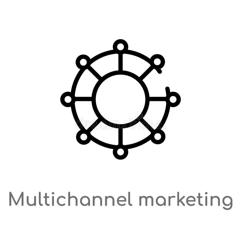 overzicht marketing vectorpictogram met meerdere kanalen de ge?soleerde zwarte eenvoudige illustratie van het lijnelement van tec royalty-vrije illustratie