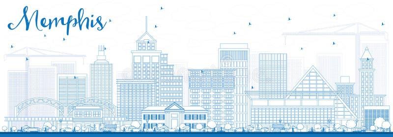 Overzicht Memphis Skyline met Blauwe Gebouwen vector illustratie