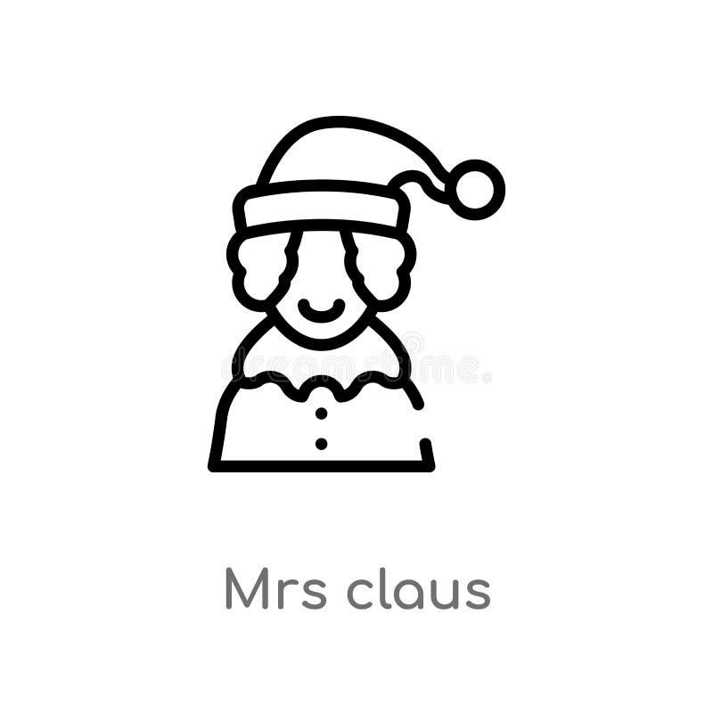 overzicht Mevr.claus vectorpictogram de ge?soleerde zwarte eenvoudige illustratie van het lijnelement van Kerstmisconcept editabl stock illustratie