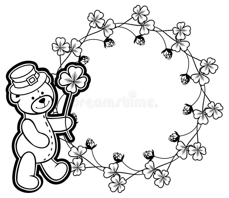 Overzicht om kader met klavercontour en teddybeer rooster royalty-vrije stock afbeeldingen