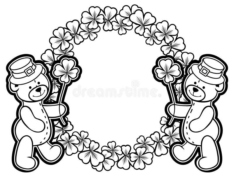 Overzicht om kader met klavercontour en teddybeer rooster stock fotografie