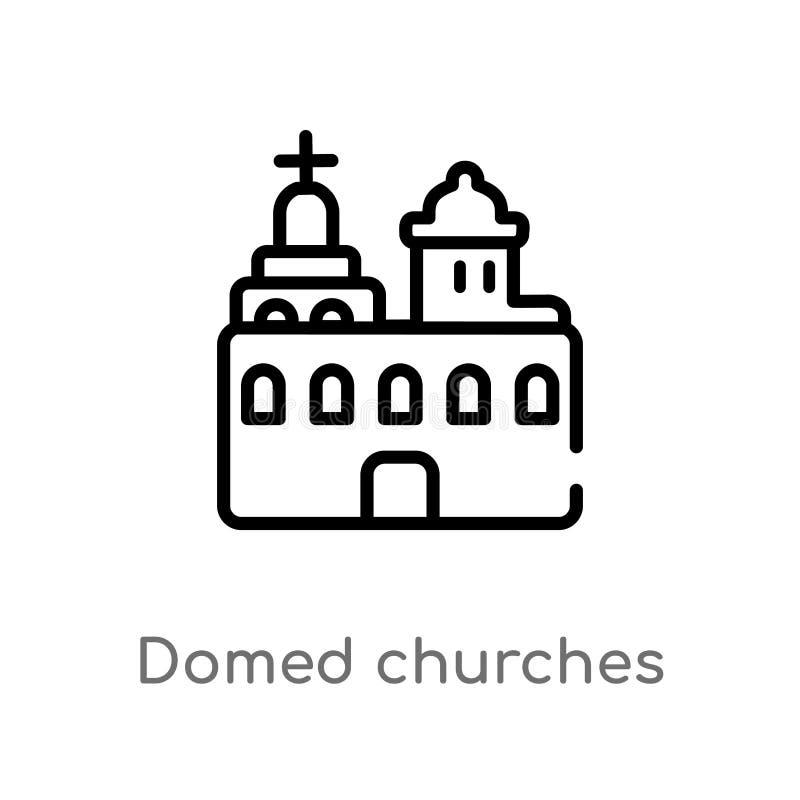 overzicht overkoepeld kerken vectorpictogram de geïsoleerde zwarte eenvoudige illustratie van het lijnelement van monumentenconce stock illustratie