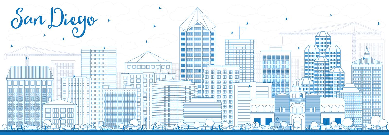 Overzicht San Diego Skyline met Blauwe Gebouwen stock illustratie
