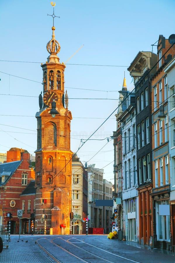 Overzicht van Amsterdam met Munttoren stock fotografie