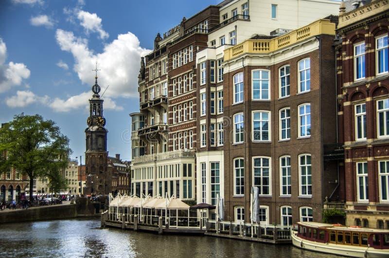 Overzicht van Amsterdam met Munttoren royalty-vrije stock fotografie