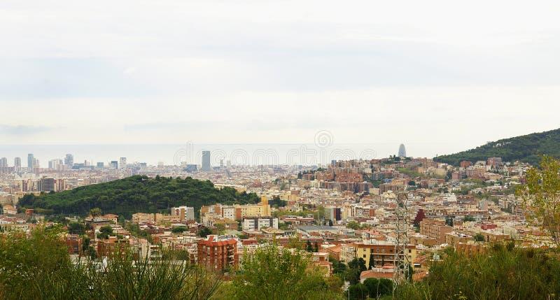 Overzicht van Barcelona van Collserola royalty-vrije stock afbeelding