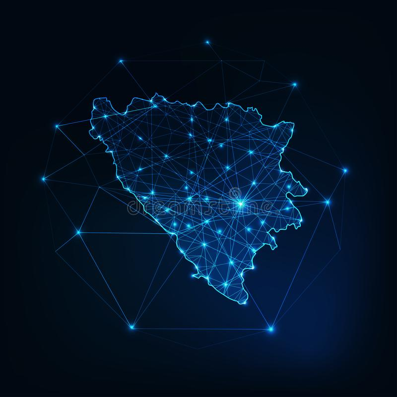 Overzicht van de kaart van Bosnië en Herzegovina met sterren en lijnen abstract kader stock illustratie