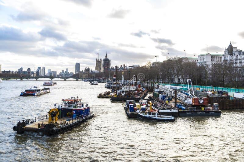 Overzicht van de rivier van Theems in Londen, het Verenigd Koninkrijk stock foto