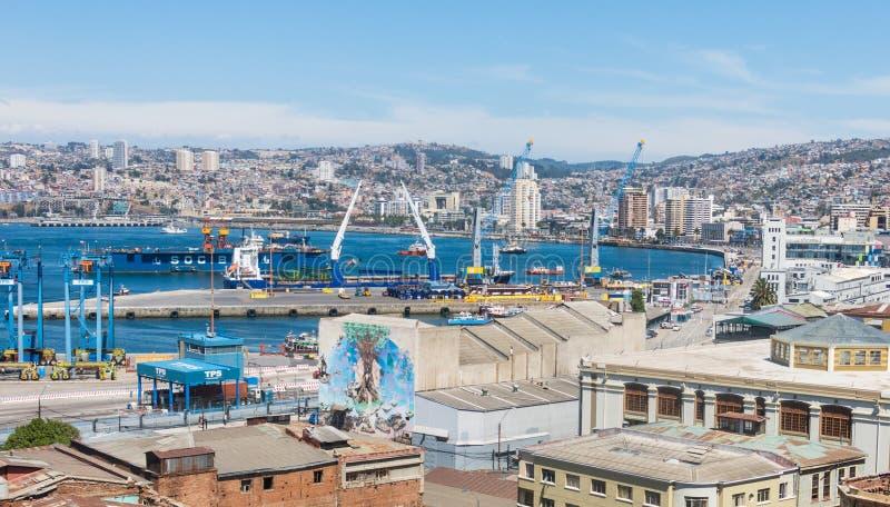 Overzicht van de stad van Valparaiso, de belangrijkste haven van Southameric stock afbeeldingen