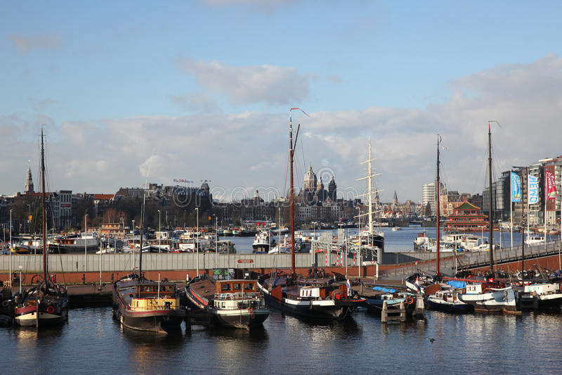 Overzicht van de stad van Amsterdam stock afbeelding