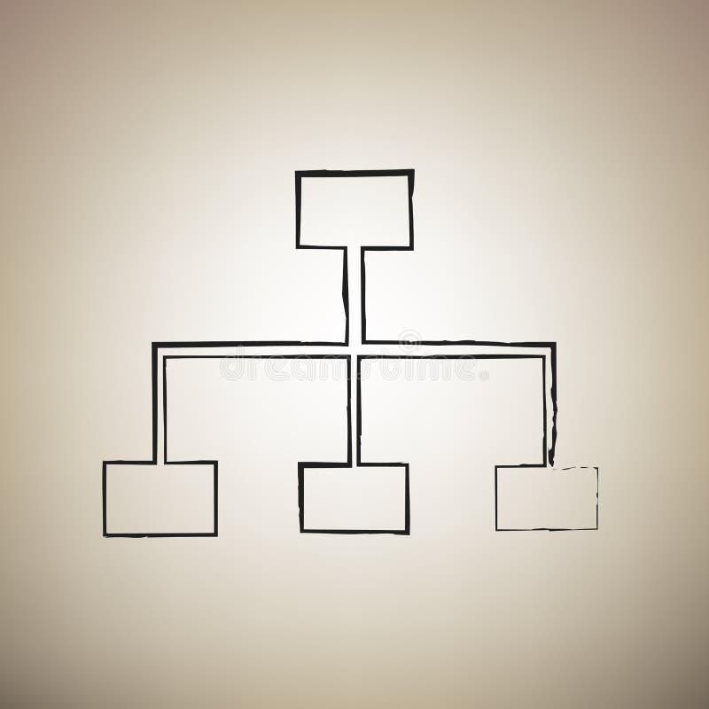 Overzicht van de websiteteken Vector De borstel drawed zwart pictogram bij lichtbruine bedelaars stock illustratie