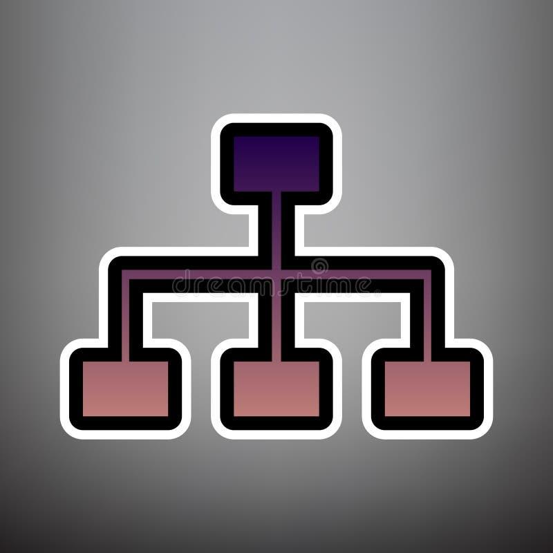 Overzicht van de websiteteken Vector Violet gradiëntpictogram met zwart-wit stock illustratie